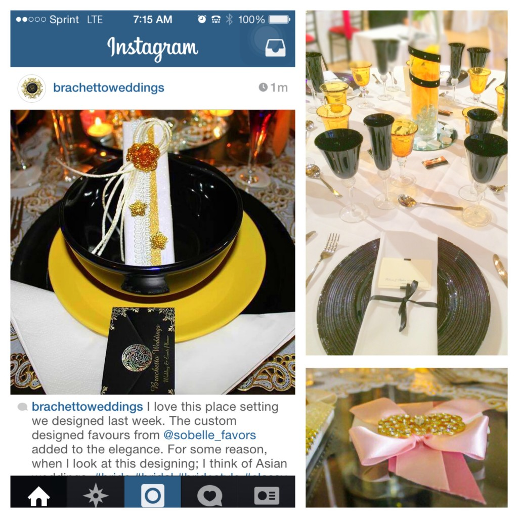 Left Photo: Instagram. Where it all started.  Right Photos: Displays featuring SoBelle favors at the UK Wedding Affair Designer Show